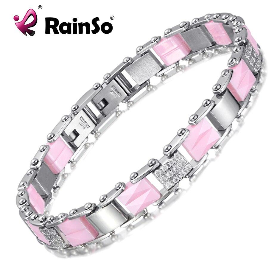 Rainso rosa cerâmica cristal pulseiras pulseiras para mulheres charme pulseira de luxo para festa de aço inoxidável moda jóias 2019