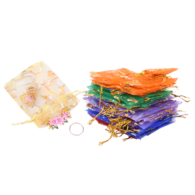 Wholesale 100pcs/lot Mixed Color Drawstring Bags Organza Gifts Bags Christmas Candy Bags Packaging Pouch