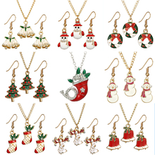 Christmas Necklace Sets Jewelry  Crystal Pendant Enamel Christma Tree Necklace Earring Set Jewelry for Women Kids Gift Wholesale fashion christmas gold christmas tree jewelry set necklace bracelet earring ring jewelry sets gift for christmas day dropshiping