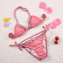 Для детей от 2 до 14 лет Пляжная детская одежда одежда для купания для девочек, прекрасные купальные костюмы бикини дети купальники бикини Infantil-ST126MIX