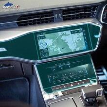 Interior do carro console engrenagem navegação tela painel tpu transparente película protetora para audi a6 c8 4k s6 2019 2020 acessórios