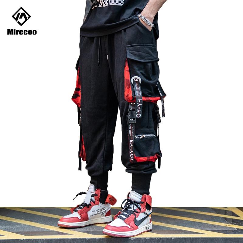 Mirecoo Cargo Baggy Pants Men Multi-Pocket Ribbon Harem Joggers Pants Men Trousers Pants Harajuku Hip Hop Sweatpants Streetwear