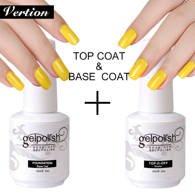 Verntion Bottom Gel Base And Top Coat Nail Gel 15ml Varnishes Gel Nail Polish Primer Long Lasting Soak Off UV Gel Nail Art Nails