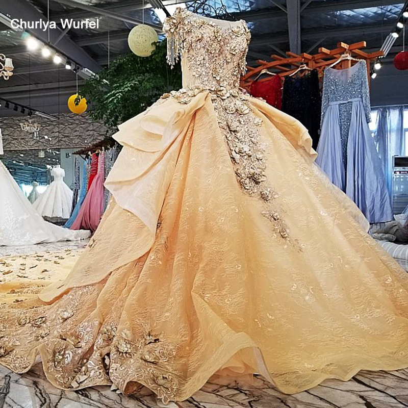LS65110 Royal Golden Evening Dress 3d Flower Beading O-neck Short Sleeves Ball Gown 2018 New Arrival Party Dresses Real Fhoto