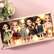 6pcs/set BJD Dolls Movable Jointed Girl Toys 16cm With Gift Box Fashion Cute Make-up Toy BJD Beauty Doll For Birthday Gifts Set