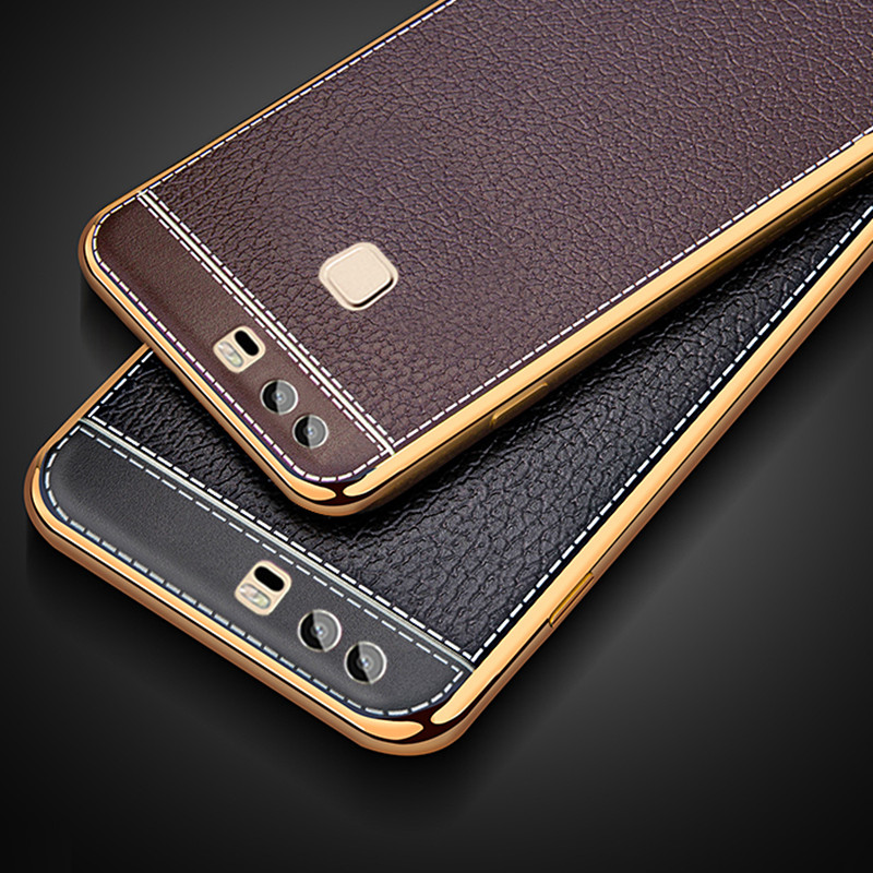 Luxury Litchi Business Leather Pattern Phone Case For Huawei P9 Plus P9plus Ultra Thin Soft Silicone Case Retro Cover Capa Coque