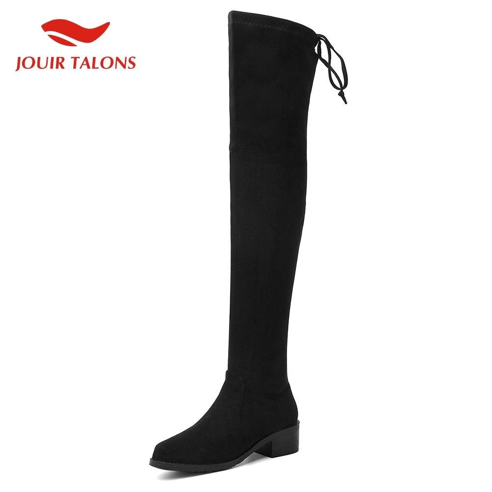 En vente 2020 grande taille 43 talons chunky sur le genou bottes femmes chaussures troupeau stretch hiver automne chaussures femme chaussette bottes femme