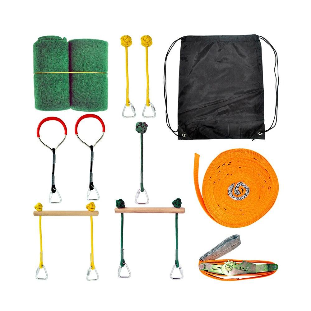 Ninja Line Hanging Obstacle Course Ninja Warrior Training Equipment For Kids 12m Slackline Monkey Bars Gymnastic Rings Fists Kit