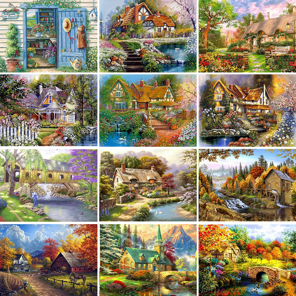 5D DIY Diamond Painting Landscape Villa House Cross Stitch Kit Full Drill Square Embroidery Mosaic Picture Home Decoration Gift