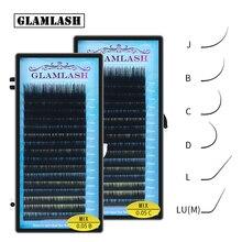 GLAMLASH Mix 7 ~ 15/15 20/20 25mm Handgemachte Koreanische Pbt J/B/C/D/L/LU(M) CURL Wimpern Verlängerung Natürliche Weiche Faux Nerz Lash