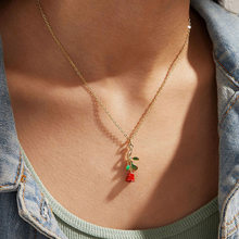556810 Korean's Still Europe and America New Style Rose Pendant Necklace Creative Retro Simple Gold Choker(China)