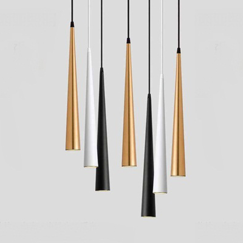 Dimmable Cone LED Pendant Lights Long Tube Lamps Kitchen Dining Room Shop Bar Decoration Cord Pendant Lamp Background Lighting
