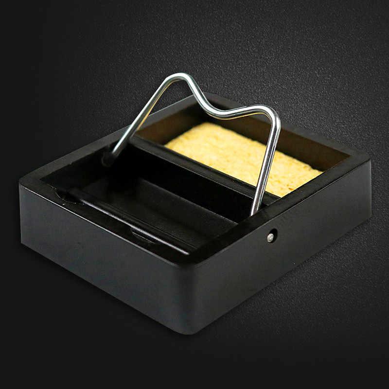 Suporte elétrico de ferro de solda, suporte pequeno com esponja de metal, estação de suporte genérica, resistência a alta temperatura, 1 peça