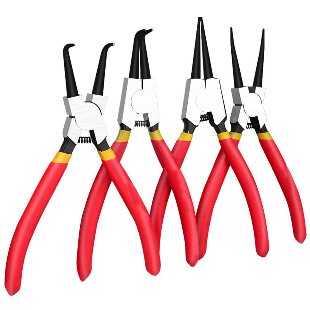 4Pcs Portable Multifunctional Internal External Retaining Clip Circlip Pliers Set Crimp Tool Snap Ring Bent Straight Practical