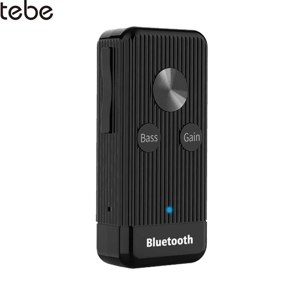 tebe Clip Bluetooth 5.0 Audio Receiver 3.5mm Aux Wireless Bass Hifi Stereo Headphones Adapter support TF Card Play For PC Car