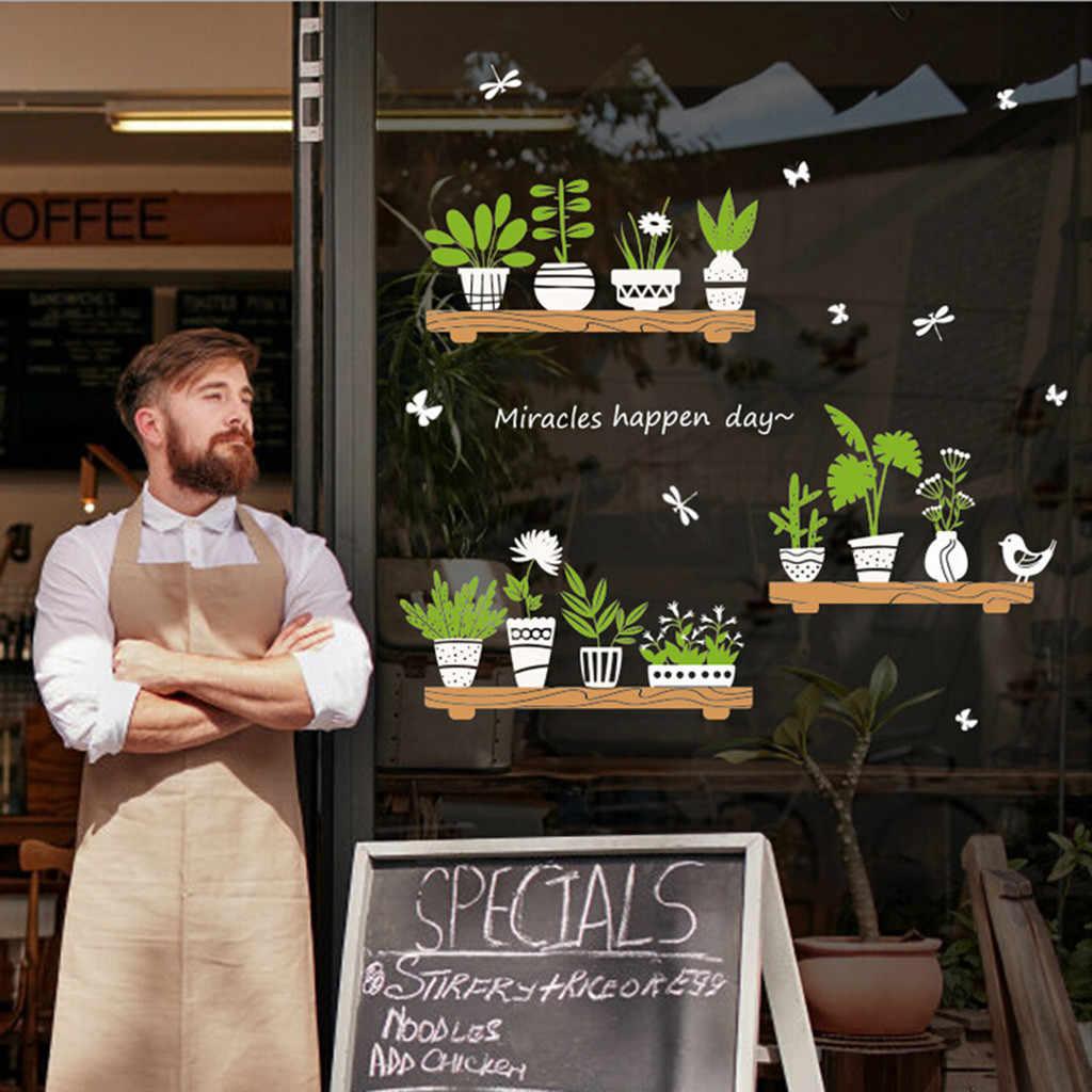 45x60cm planta maceta puerta de vidrio de tienda café decoración pegatinas de pared puerta hogar habitación Diy decoración regalos no tóxicos ambientadores