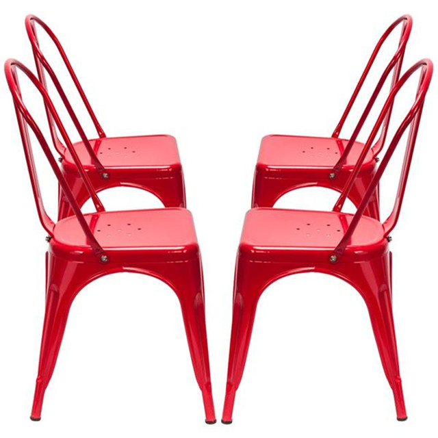 4PCS Industrial Style Red Chair  6