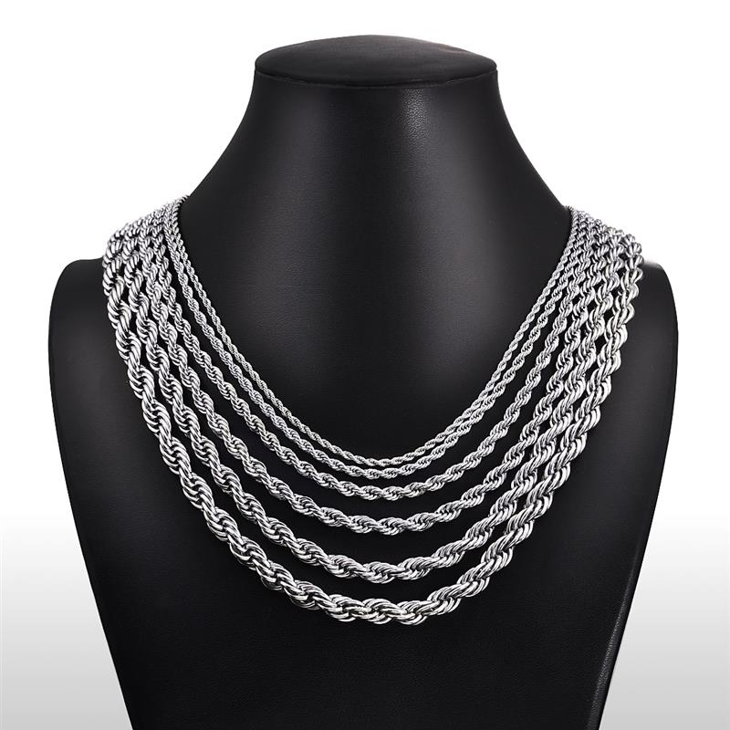 Image 2 - Jiayiqi 2mm 7mm Rope Chain Necklace Stainless Steel Never Fade 