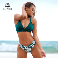 CUPSHE Green Scalloped Edge Printed Bottom Bikini Sets Sexy Lace Up Swimsuit Two Pieces Swimwear Women 2020 Beach Bathing Suits