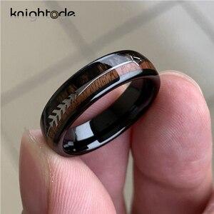 Image 5 - 8/6mm modny wolframowy drewno karbidowe pierścienie stalowa strzałka wkładka dla mężczyzn kobiety klasyczny pierścionek zaręczynowy kopuła zespół polerowany komfort