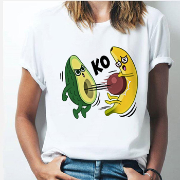 2020 New Avocado-Print Women T-shirts Harajuku Cartoon Funny Top Female T Shirt Casual Round Neck Clothes Summer Tee Tops Shirts blue round neck random print t shirts