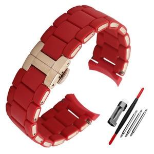 Image 5 - Gomma di Silicone del Cinturino del silicone wristband del braccialetto in oro Rosa fibbia per AR5905 AR5906 AR5919 AR5920 20 23 millimetri watch band strap
