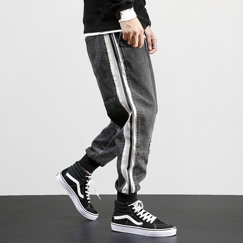 Fashion Streetwear Men Jeans Gray Loose Fit Stripe Spliced Cargo Pants Harem Trousers Designer Hip Hop Jeans Men Joggers Pants