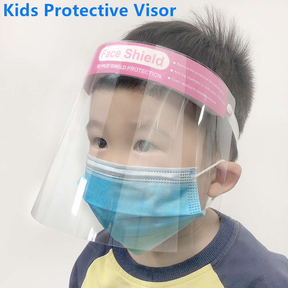 1Pcs Kids Clear Face Shield Children Protective Visor Full Face Mask Anti-fog Dustproof Eyes Protector Teenagers Isolation Masks