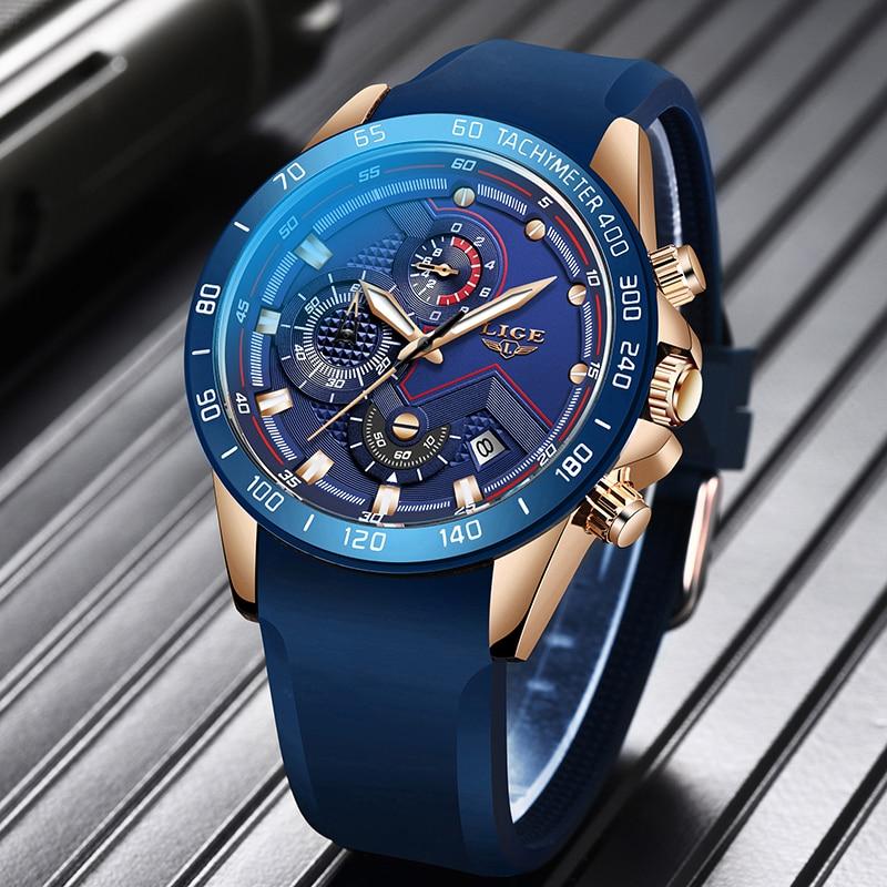 Relogio Masculino 2020 LIGE Men Watches Top Brand Luxury Blue Business Silicone Quartz Watch Men Fashion Waterproof Chronograph