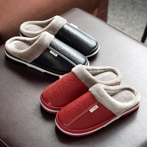 Image 4 - ASIFN Men Slippers Indoor Leather Winter Waterproof Warm Home Fur Women Slipper Male Couple Platform Shoes Fluffy Big Sizes