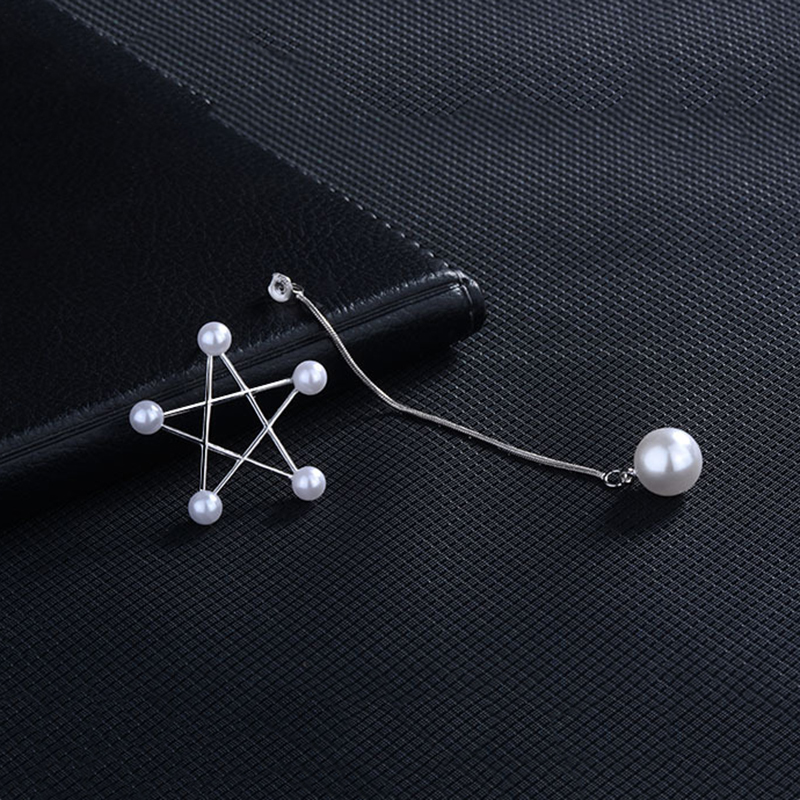 MEETSOFT Silver Plated Prevent Allergy Drop Earrings for Women Trendy Design Long Chain Removable Hollow Out Star Jewelry Gift