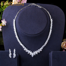 CWWZircons Top Quality Marquise Cut CZ Cubic Zirconia Wedding Choker Necklace and Earrings Bridal Prom Dress Jewelry Sets T398