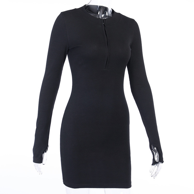 Women Winter Fall Bodycon Ribbed Dress 2020 New Stand Collar Zipper Deep V-neck Solid Stretch Bodycon Pencil Party Mini Vestido