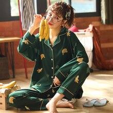 가을 겨울 따뜻한 편안한 파자마 M 3XL 여성 플러스 사이즈 잠옷 세트 간단한 코튼 여성 세트 카디건 버튼 잠옷