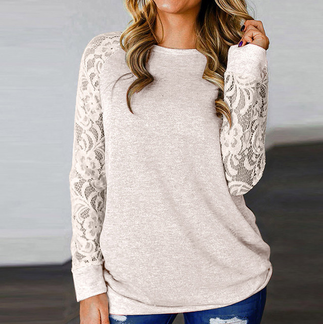 Women Lace Woman T shirts Fashion Lace Floral Splicing O-neck Long Sleeve T-shirt Tops Crop Top