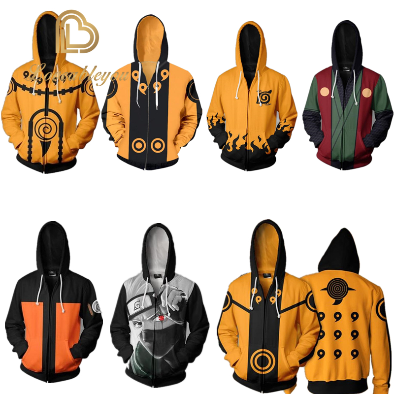 Hot Sale Amine Naruto 3D Naruto Aikooki Zipper Hoodies Men Women Casual Sweatshirts Hooded Clothing Coat Tops Streetwears