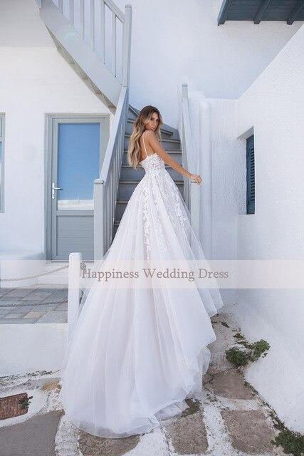 Elegant A-line White 3D flower Wedding Dresses with Appliques Spaghetti Strap Bridal Gowns Boho vestido de casamento 2