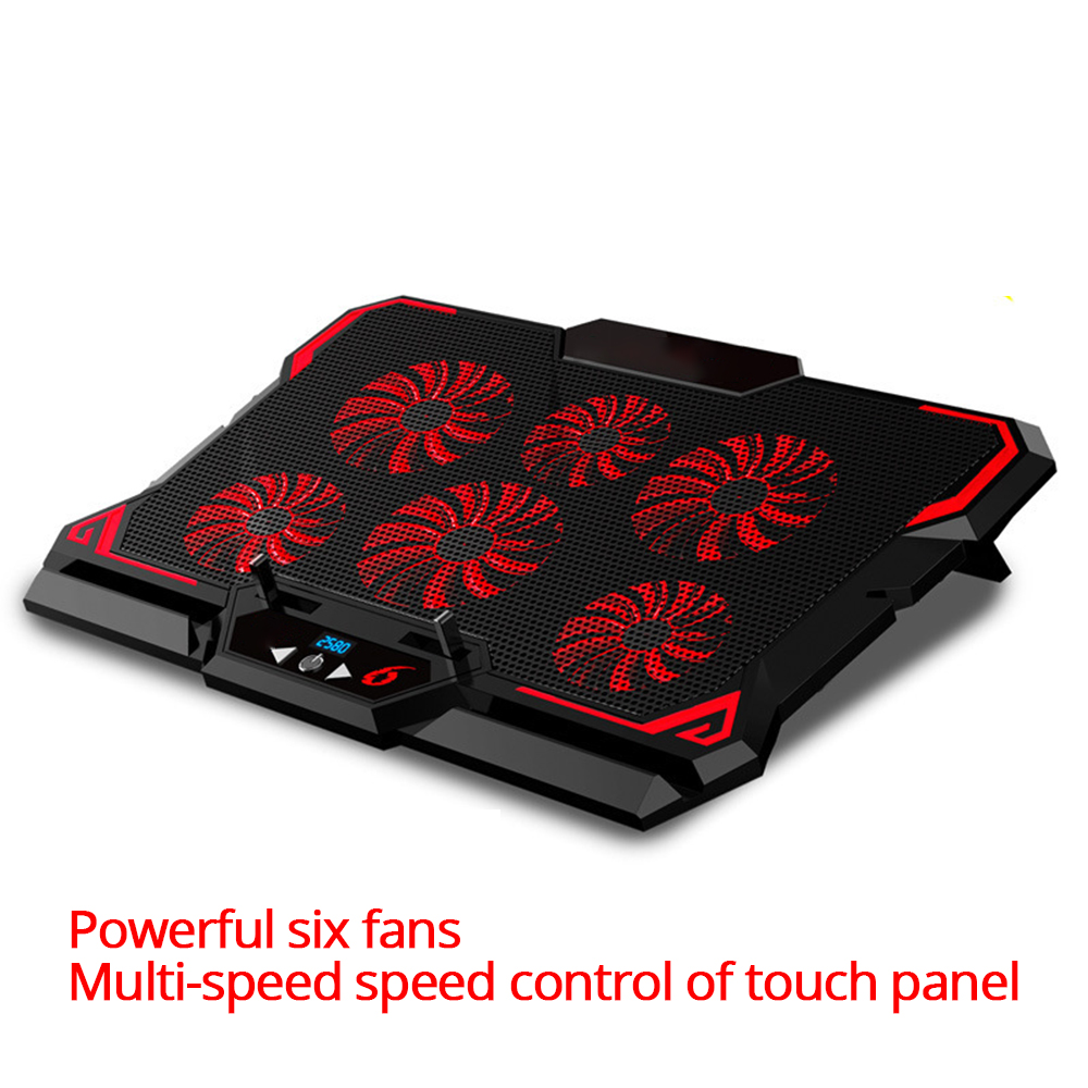 17inch Gaming Laptop Cooler Six Fan Led Screen Two USB Port 2600RPM Laptop Cooling Pad Notebook Stand For Laptop
