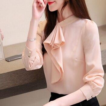 Chiffon shirt korean fashion clothing 2020 Ruffle New Fashion Korean Slim Blouses Shirts Long Sleeve Women Tops 219E