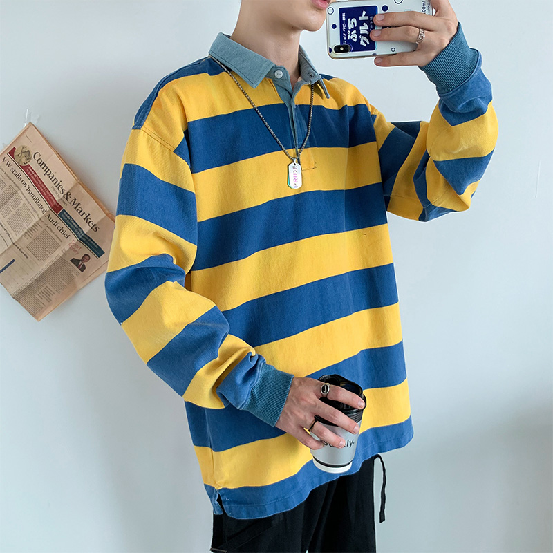 2020 long-sleeved ins loose-fitting men's fashion korean version of striped polo shirt students put on clothes
