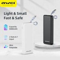 Awei Mini Power Bank 5000mAh USB tipo C Powerbank Buit in cavo caricabatterie rapido batteria agli ioni di litio Poverbank portatile per telefono cellulare
