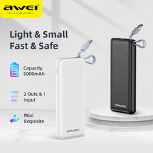 Awei P2K Mini Power Bank 5000mAh Buit in Cable Fast Charger Li-ion Battery Portable Powerbank