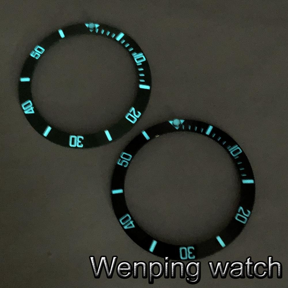 38mm Super Blue Luminous Watch Ceramic Bezel Ring Insert Fits For 40mm Watches 40mm Watch Case