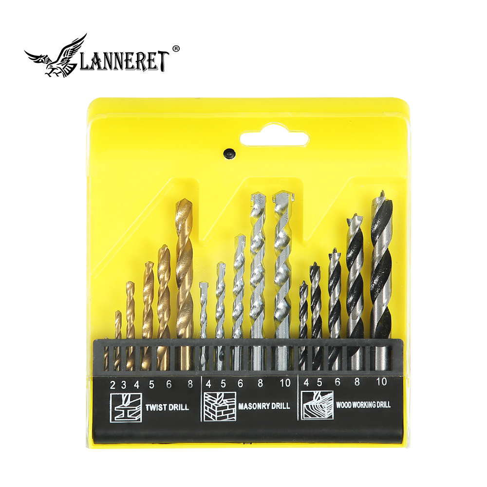 LANNERET 16-Piece HSS 4241 Drill Bit Set For Metal Wood Masonry Plastic Drilling For Impact Drill Plastic Box High Quality