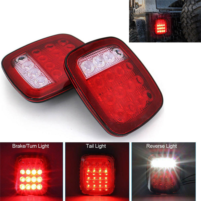 2PCS Tail Light Truck Lights Trailer LED Light Truck Trailer 16LED Stop Brake Turn LED Rear Lights Tail Light For Truck 12V