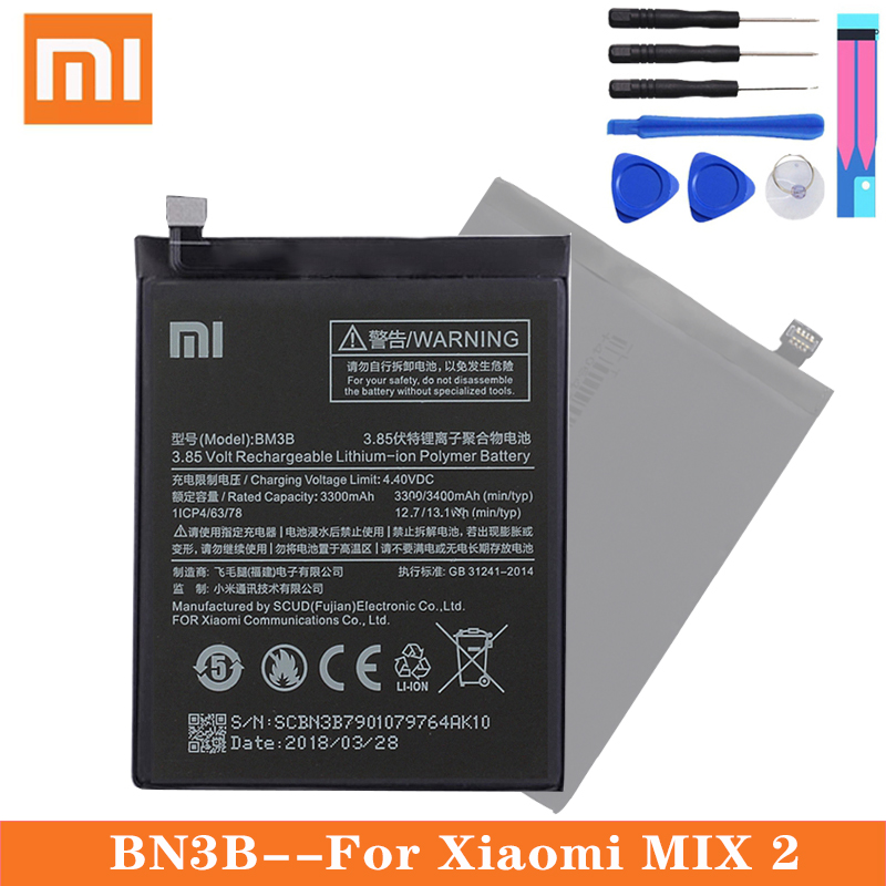 Xiao <font><b>Mi</b></font> Original Replacement Phone <font><b>Battery</b></font> BM3B For Xiaomi <font><b>Mix</b></font> 2 / <font><b>Mix</b></font> <font><b>2S</b></font> 3300mAh High Capacity Phone <font><b>Batteries</b></font> Free Tools image