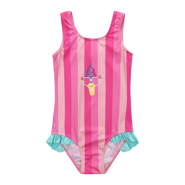 2019 Jinguoyiyi New Style One-piece Swimsuit For Children Girls Stripes Ice Cream One-piece CHILDREN'S Swimwear Cross Border