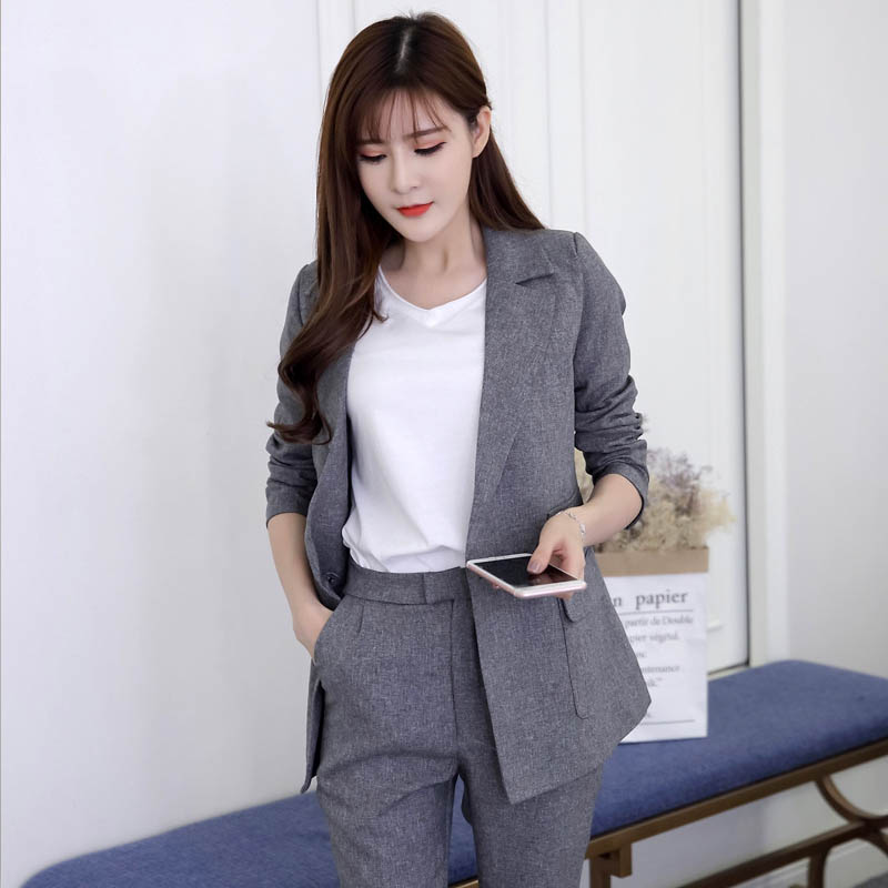 2019 Two Pieces OL Set Notched One Button Jacket And Long Pant Suits Women Business Jackets And Blazers Casual Outfits Feminino