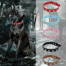 Punk Spiked Dog Collar Leather Adjustable Studded Rivet Collars Durable Pet Accessories for Small/Medium/Larges Dogs