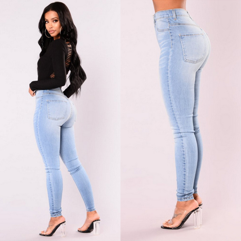 Sexy Jeans Women Denim Skinny Pants High Waist Stretch Lady Jeans Push Up Leggings Slim Pockets Button Pencil Jeans Women